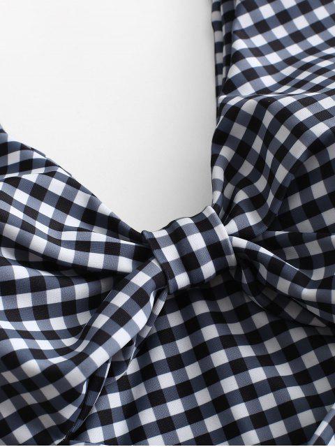 women's ZAFUL Checkered Knotted Tank Bikini Set - MULTI-A M Mobile