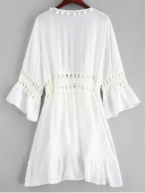 fancy Pom-pom Crochet Panel Beach Dress - WHITE ONE SIZE Mobile
