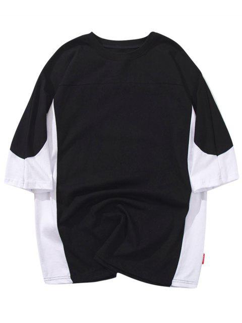 Manga Raglan color block camiseta casual - Negro XL Mobile