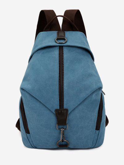 College Style Canvas Zipper Backpack - Silk Blue ... f40be5c73d93a