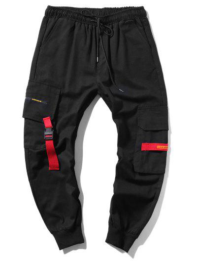 Applique Long Cargo Jogger Pants - Black M