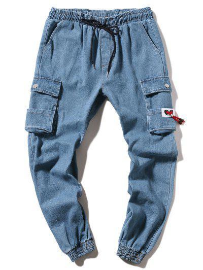 Jogger Pantalones Casuales De Color Sólido - Azul Denim M
