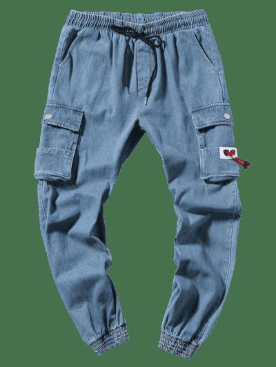 Solid Color Casual Jogger Jeans, Denim blue