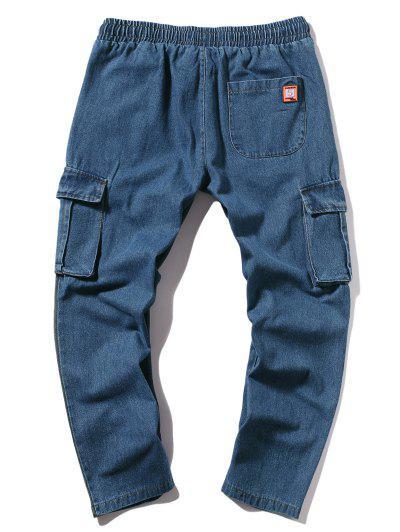 2473449706d ... Long Straight Color Block Casual Jeans - Jeans Blue M