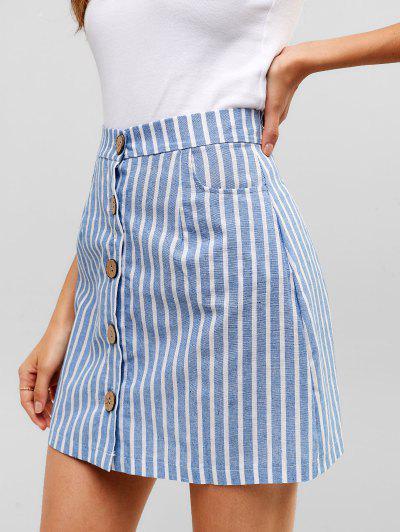 90de8067350b Striped Button Through Woven Mini Skirt - Denim Blue M ...