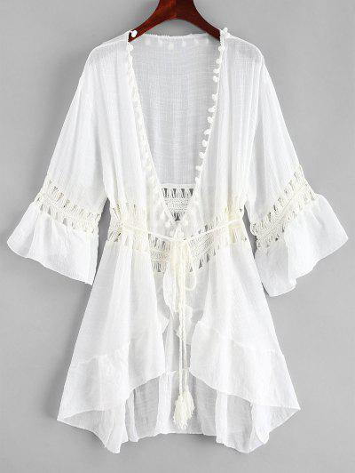 Vestido De Playa De Ganchillo Con Panel De Pom - Blanco