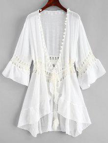 بوم بوم الكروشيه لوحة بيتش اللباس - أبيض