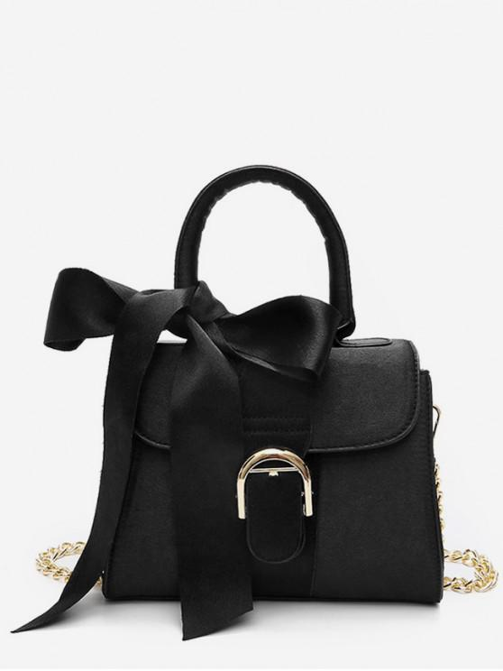 womens Stylish Bowknot Decoration Crossbody Bag - BLACK