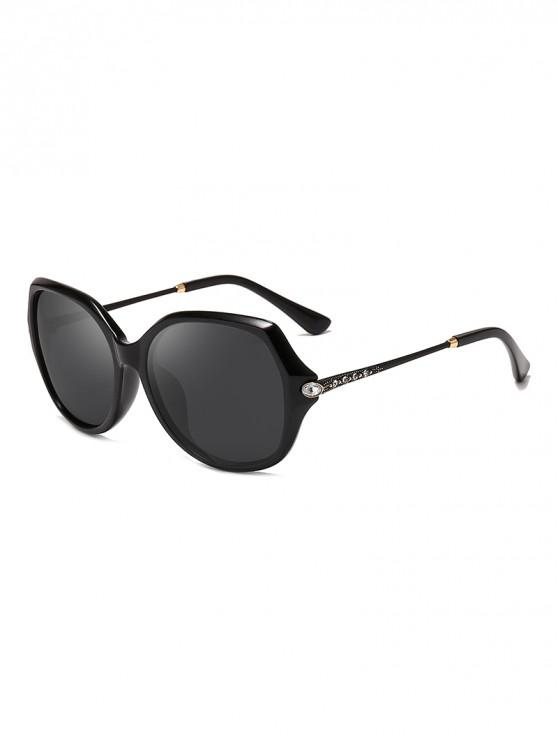 unique Oversize Rhinestone Decorated Polarized Sunglasses - BLACK