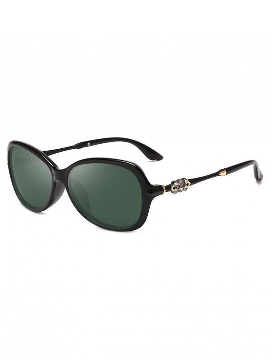 women Butterfly Rhinestone Decorated Sunglasses - DARK GREEN