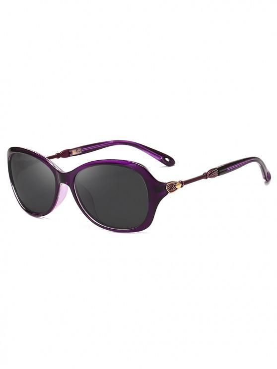 shop Oversize Polarized Classic Style Sunglasses - PURPLE FLOWER