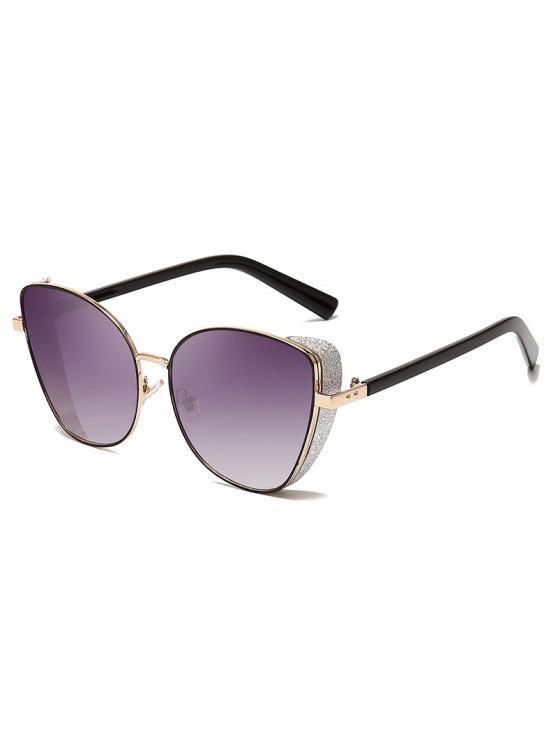 latest Stylish Gradient Shiny Decorated Sunglasses - ASH GRAY