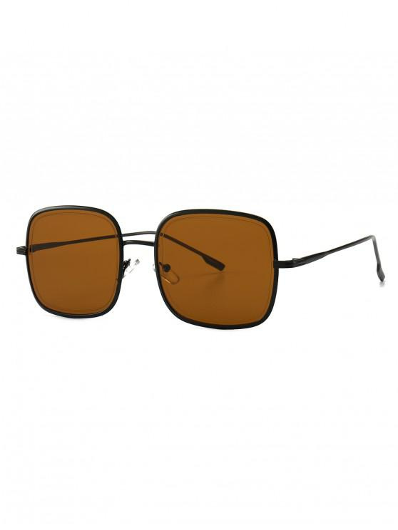 fancy Metal Frame Square Sunglasses - BROWN