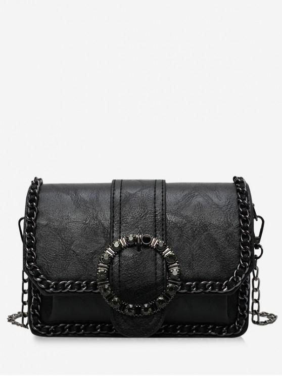 best Round Buckle Design Shoulder Bag - BLACK
