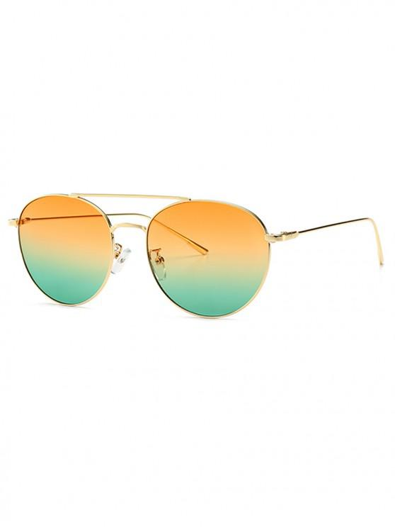 affordable Gradient Pilot Metal Frame Sunglasses - YELLOW GREEN