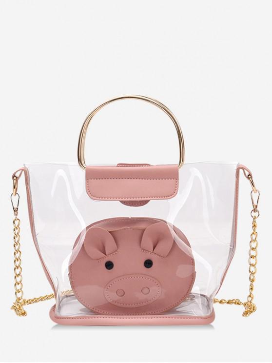 shops 2 Piece Clear Piggy Tote Bag Set - PINK