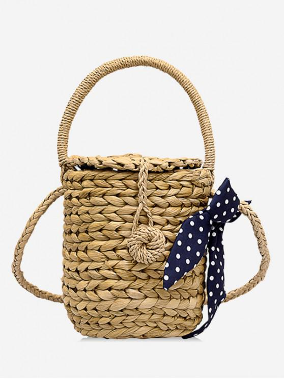 chic Bowknot Straw Holiday Crossbody Bag - KHAKI