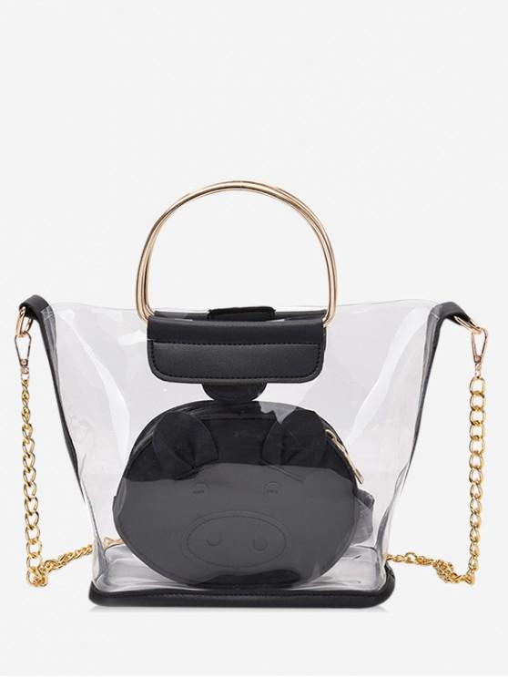 fancy 2 Piece Clear Piggy Tote Bag Set - BLACK