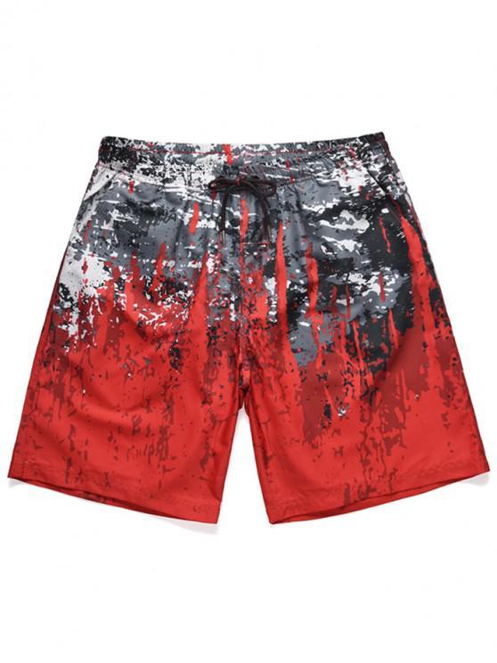 affordable Painting Print Drawstring Beach Shorts - CHESTNUT RED 2XL