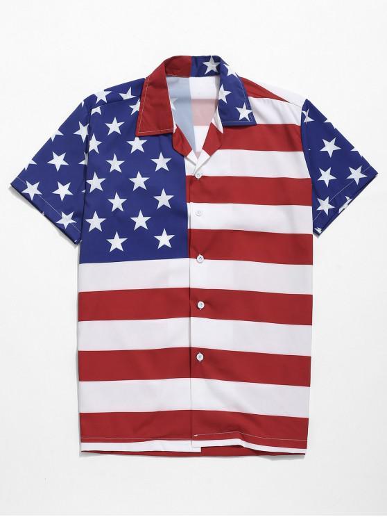 hot American Flag Print Button Up Casual Shirt - MULTI L