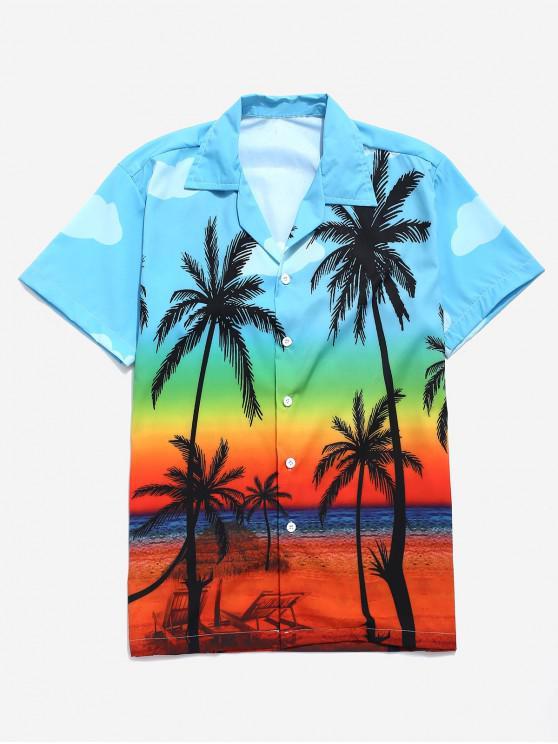 Camicia da spiaggia con stampa di paesaggi laterali della spiaggia di alberi di cocco - Multi Colori M