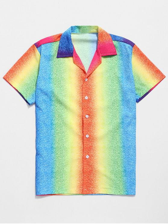 chic Ombre Colorful Painting Print Beach Shirt - MULTI S