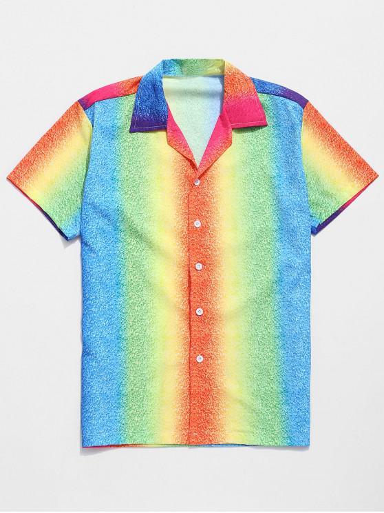 unique Ombre Colorful Painting Print Beach Shirt - MULTI L