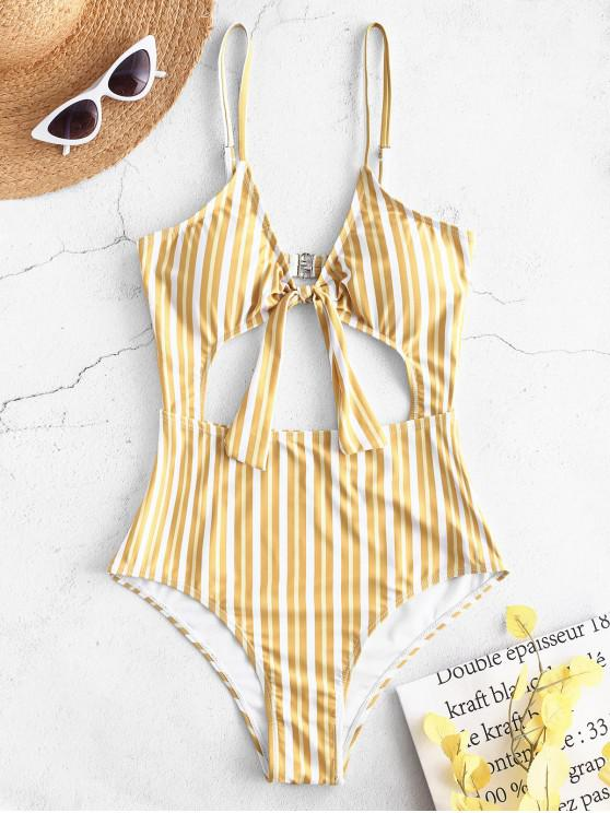 sale ZAFUL Striped Knot Cut Out Swimsuit - GOLDEN BROWN L