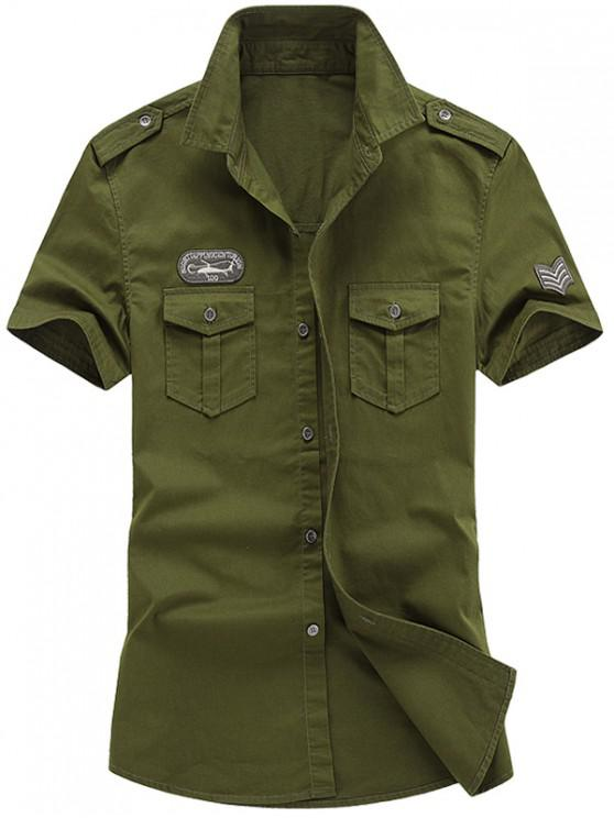 women Embroidery Badge Applique Print Casual Shirt - ARMY GREEN 2XL