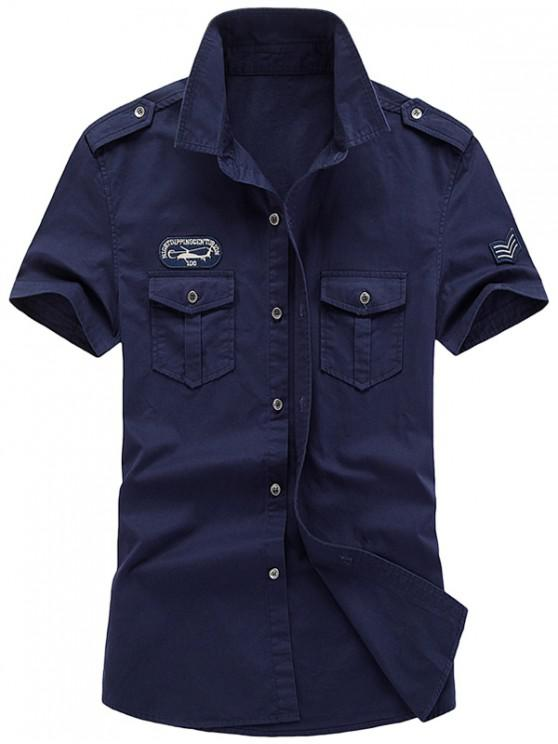 women's Embroidery Badge Applique Print Casual Shirt - CADETBLUE 2XL