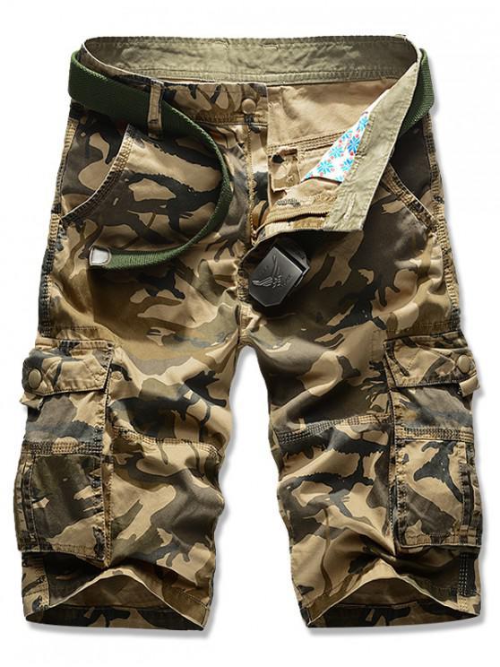 hot Camouflage Print Zipper Fly Cargo Shorts - KHAKI 42