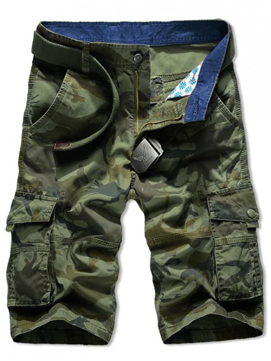 outfit Camouflage Print Zipper Fly Cargo Shorts - ARMY GREEN 42