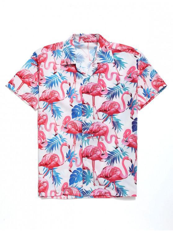 fancy Tropical Leaves Flamingo Print Beach Shirt - MULTI S