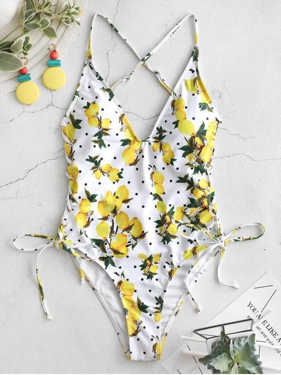 latest ZAFUL Lemon Polka Dot Lace Up Backless Swimsuit - MULTI-A XL