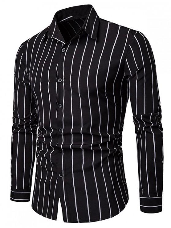 fashion Casual Long Sleeve Striped Shirt - BLACK S