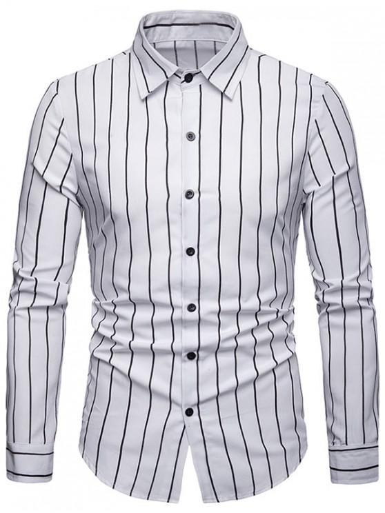 trendy Casual Long Sleeve Striped Shirt - WHITE 2XL