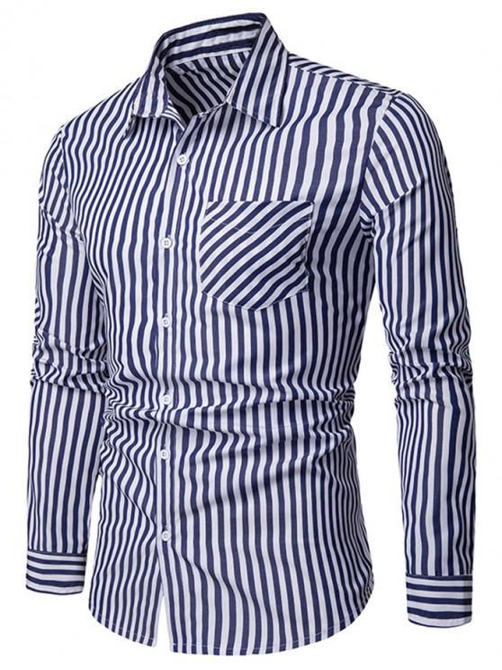 women Stripe Print Chest Pocket Shirt - CADETBLUE M