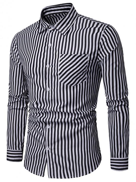 hot Stripe Print Chest Pocket Shirt - BLACK XL