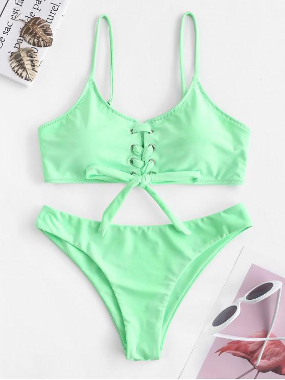 lady ZAFUL Cami Lace Up Bikini Set - JADE GREEN S