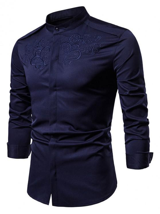 buy Vintage Floral Embroidered Button Hidden Shirt - CADETBLUE M