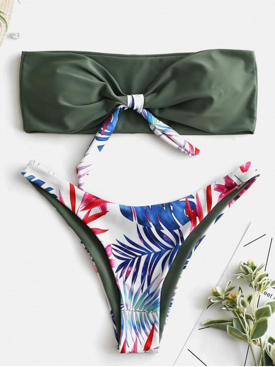 fancy ZAFUL Knot Leaf Print Bandeau Bikini Set - CAMOUFLAGE GREEN L