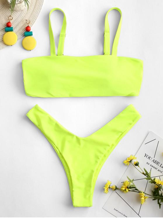 f2762d8fd 16% OFF] 2019 ZAFUL Caged High Leg Bikini Set In GREEN YELLOW | ZAFUL