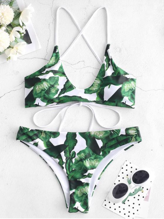 affordable ZAFUL Palm Leaf Strappy Bikini Set - WHITE S