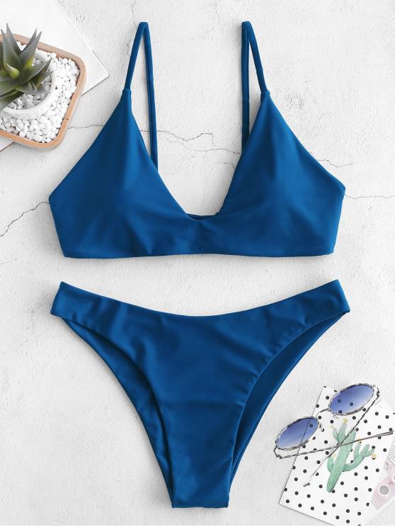 lady ZAFUL Tie Bralette Bikini Set - BLUEBERRY BLUE S