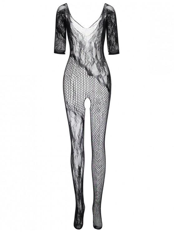 womens Open Crotch Lace Net Bodystocking - BLACK ONE SIZE