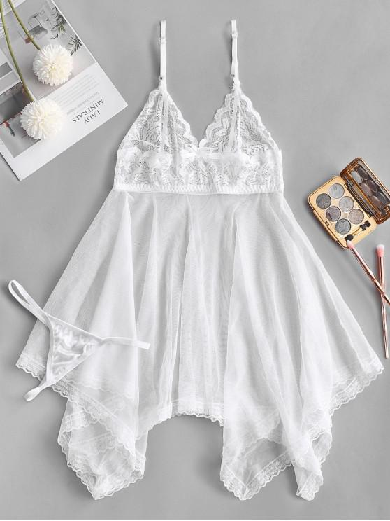 lady Lace Panel Handkerchief Babydoll - WHITE ONE SIZE