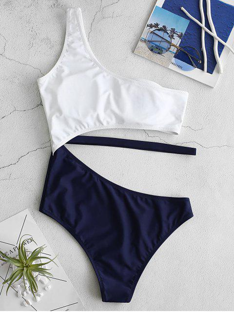 buy ZAFUL Cutout One Shoulder Swimsuit - LAPIS BLUE M Mobile