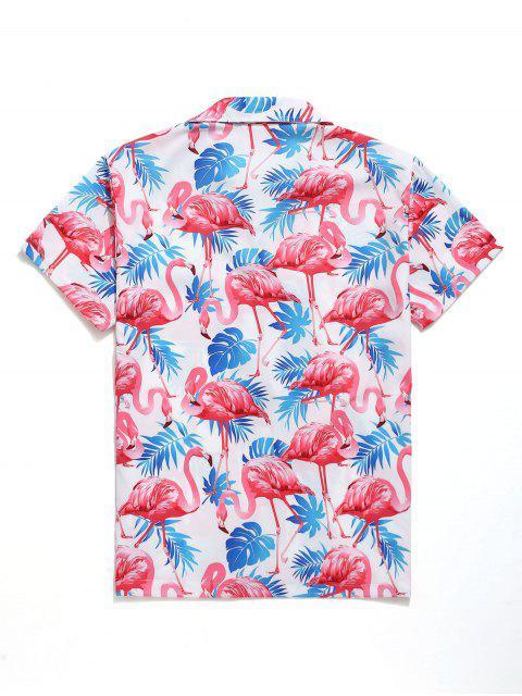 Tropisches Blätter-Flamingodruck-Strand-Shirt - Multi S Mobile