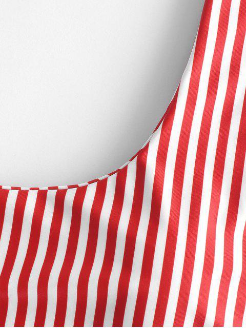 hot ZAFUL Striped High Leg Scooped Bikini Set - RED M Mobile