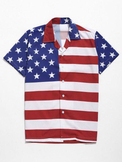 28d7e48eaf912 American Flag Print Button Up Casual Shirt - Multi M